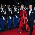 La princesse benedikte, soeur de la reine, et son mari le prince Richard. Dîner de gala à la salle de concert de Copenhague dans le cadre du jubilé des 40 ans de règne de la reine Margrethe II, samedi 14 janvier 2012. 1500 convives de marque étaient invités.