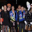 La princesse Stéphanie de Monaco, sa fille Pauline Ducruet, Robert Hossein et Stéphane Bern lors du 36e Festival International du cirque de Monte-Carlo à Monaco le 21 janvier 2012