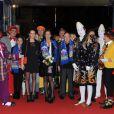 Pauline Ducruet, sa mère la princesse Stéphanie de Monaco, Robert Hossein et Stéphane Bern lors du 36e Festival International du cirque de Monte-Carlo à Monaco le 21 janvier 2012