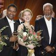 Denzel Washington, Scarlett Johansson et Morgan Freeman lors des Golden Cameras Awards à Berlin le 4 février 2012