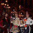 Le trio House of Drama a pimenté de son attitude glam'punk le dîner J&B à l'Hôtel InterContinental de Paris, le 8 février 2012.