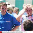 Zara Phillips et Richard Johnson en juillet 2003. Leur histoire d'amour a  fait les choux gras de la presse anglaise de 1998 à 2003.   Zara Phillips a assisté avec effroi, au 2e jour de courses à Cheltenham le 14 mars 2012, à la chute de Wishful Thinking et du jockey Richard Johnson, son ex-petit ami (1998-2003).