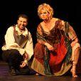 David Serero et Jeane Manson lors de la générale de la pièce L'homme de la Mancha, au Théâtre des Variétés, le 19 mars 2012