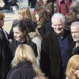 Jean-Pierre Castaldi, André Dussollier et Francis Perrin lors des obsèques de Michel Duchaussoy au crématorium du cimetière du Père-Lachaise à Paris le 20 mars 2012
