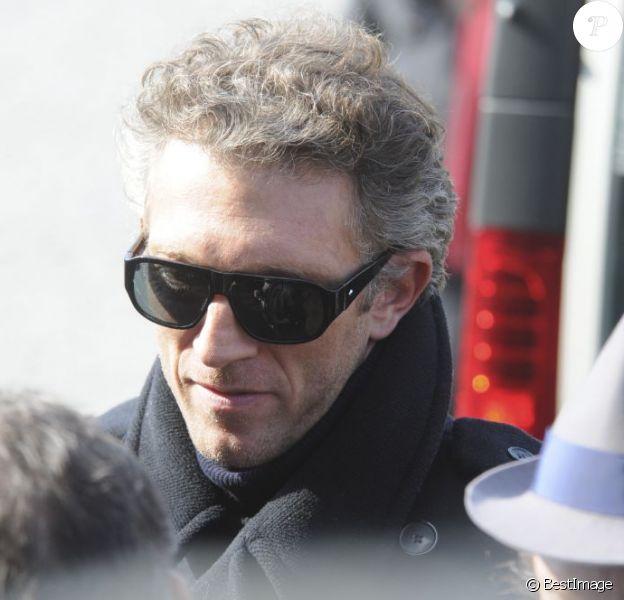 Vincent Cassel lors des obsèques de Michel Duchaussoy au crématorium du cimetière du Père-Lachaise à Paris le 20 mars 2012