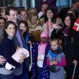 La princesse Marie et le prince Joachim de Danemark avec leur petite princesse née le 24 janvier 2012, à la sortie du Rigshospitalet de Copenhague, le 27 janvier 2012.