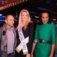 Allan Theo, Miss Prestige National et Vincent Mc Doom lors de l'avant-première de la Foire du trône, à Paris, le 6 avril 2012