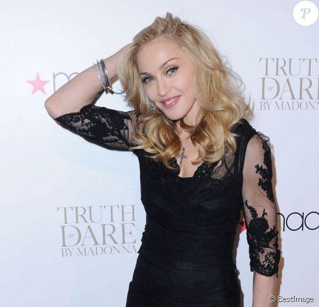 Madonna lors du lancement de son parfum à New York le 12 avril 2012