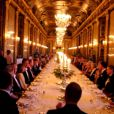 Repas officiel à Drottningholm, Stockholm, pour la visite d'Etat du couple présidentiel finlandais, le 17 avril 2012.