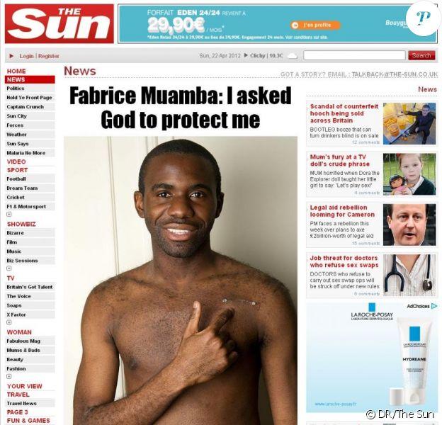 Fabrice Muamba, victime d'un arrêt cardiaque en plein match, dévoile ses cicatrices dans The Sun on Sunday du 22 avril 2012