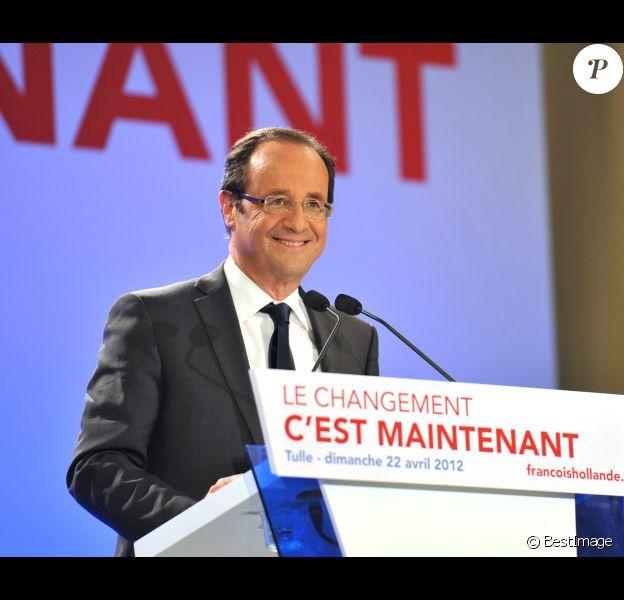 François Hollande, en avril 2012 à Tulle, en Corrèze.