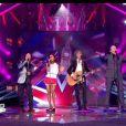 Les 4 coachs de The Voice : Jenifer, Garou, Florent Pagny et Louis Bertignac sur la scène de l'émission