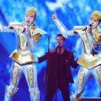 Jedward lors des répétitions de l'Eurovision le 26 mai 2012 à Bakou en Azerbaïdjan