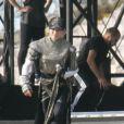 Répétitions finales de Madonna à Tel Aviv, le 26 mai 2012. On devine sur cette photo le costume Jeanne d'Arc en cristaux Swarovski imaginé par Arianne Philipps.