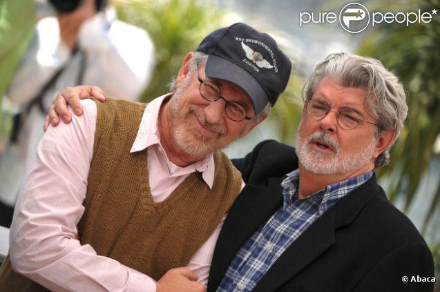 Steven Spielberg et George Lucas en mai 2008 à Cannes.