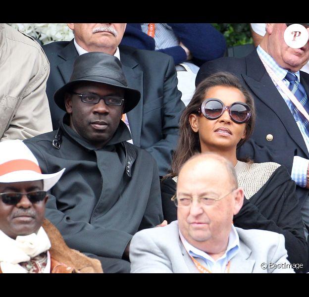 Lilian Thuram et Karine Le Marchand le 3 juin 2012 à Roland-Garros
