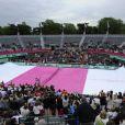 Martina Navratilova, Jana Novotna, Nathalie Tauziat, Sandrine Testud, Chris Evert et Jean Gachassin inaugure un court tout rose à l'occasion de la journée de la femme célébré à Roland-Garros le jeudi 7 juin 2012