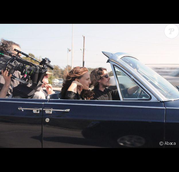 Natalie Portman et Christian Bale sur le tournage de Knight of Cups de Terrence Malick, à Los Angeles le 4 juin 2012.