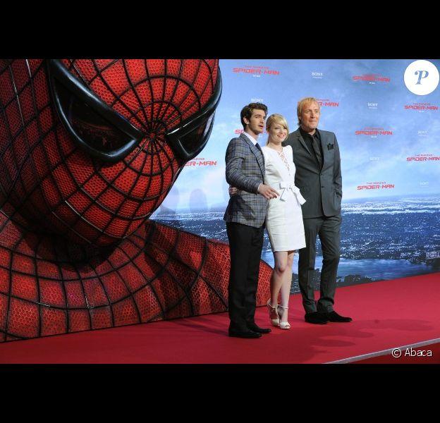 Andrew Garfield, Emma Stone et Rhys Ifans à Berlin le 20 juin 2012 pour la présentation de The Amazing Spider-Man.