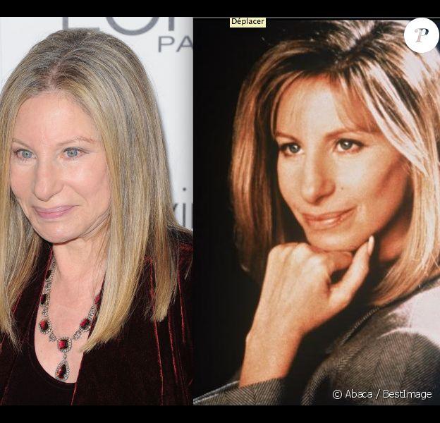 Barbra Streisand en octobre 2011 à Los Angeles / en 1993.
