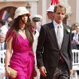 Andrea Casiraghi et Tatiana Santo Domingo au mariage du prince Albert et de la princesse Charlene de Monaco le 2 juillet 2011.   Andrea Casiraghi et Tatiana Santo Domingo, après 7 ans d'amour, se sont fiancés ! La princesse Caroline de Hanovre s'est fait une joie d'annoncer les fiançailles de son fils aîné le 4 juillet 2012.