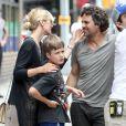 Mark Ruffalo avec sa femme Sunrise Coigney et leur fils Keen sur le tournage de  Can a Song Save Your Life ?  à New York, le 23 juillet 2012.