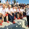 La princesse Anne, présidente de la British Olympic Association, accueillant le 25 juillet 2012 les athlètes britanniques au village olympique.