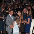 Sylvester Stallone avec ses filles à Paris le 9 août 2012