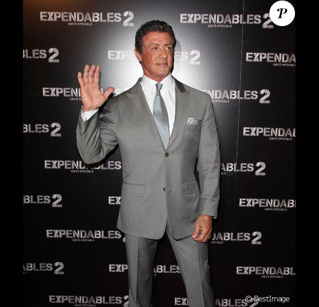 Sylvester Stallone lors du photocall d'Expendables 2 à Paris le 9 août 2012