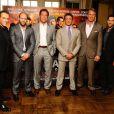 Jean-Claude Van Damme, Jason Statham, Arnold Schwarzenegger, Sylvester Stallone, Dolph Lundgren et Scott Adkins à Londres pour la promotion d'Expendables 2 à Londres le 12 août 2012