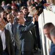 François Hollande a signé de nombreux autohraphes aux visiteurs venus découvrir le palais de l'Elysée dans le cadre des Journées du patrimoine le 16 septembre 2012 à Paris