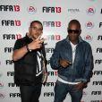 Sofiane de Secret Story avec Lord Kossity lors de la soirée de lancement FIFA 13, le 25 septembre 2012 à l'Olympia de Paris.