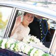 La mariée Stéphanie de Lannoy arrive à la cathédrale Notre-Dame de Luxembourg, le 20 octobre 2012.