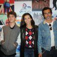 Adeline Blondieau, son fils Aïtor et son compagnon Laurent Hubert lors du vernissage Reebok à l'imprimerie de Paris, le 4 octobre 2012