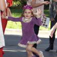 """Anja Mazur, la fille du top Alessandra Ambrosio joue les princesses en robe violette et couronne à la première de """"Sofia The First: Once Upon a Princess """" aux studios de Walt Disney a Los Angeles. Le 10 novembre 2012."""