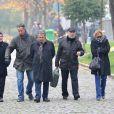 Michel Blanc, Thierry Lhermitte, Christian Clavier, Gérard Jugnot et Marie-Anne Chazel lors de l'inhumation définitive de Tsilla Chelton dans le cimetière du Père-Lachaise à Paris le 16 Novembre 2012