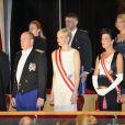 Le prince Albert et la princesse Charlene de Monaco étaient accompagnés de la princesse Caroline de Hanovre et ses fils Andrea et Pierre Casiraghi au Forum Grimaldi pour l'opéra de Puccini  La Fianciulla del West  lors de la soirée de gala de la Fête nationale à Monaco le 19 novembre 2012.