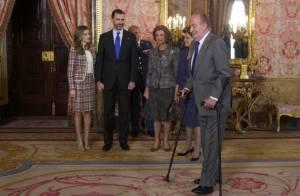 Letizia d'Espagne chic et Juan Carlos Ier à béquilles pour Dilma Rousseff