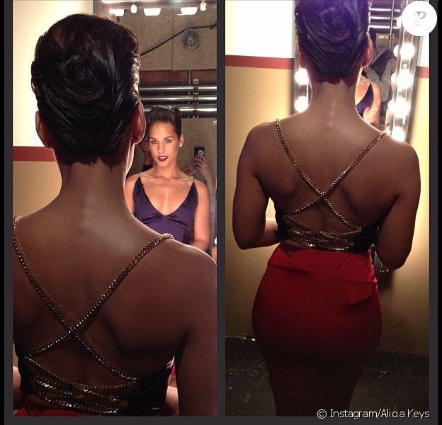 Alicia Keys, très sexy, se prépare pour Jimmy Fallon et son Late Night, sur NBC le 21 novembre 2012.