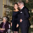 Le prince Laurent et la princesse Claire. La famille royale de Belgique assistait le 19 décembre 2012 au palais Laeken, à Bruxelles, au concert de Noël annuel, suivi d'une réception.