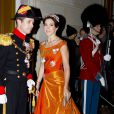 La princesse héritière Mary et le prince héritier Frederik de Danemark au gala du Nouvel An au palais Amalienborg, à Copenhague, le 1er janvier 2013