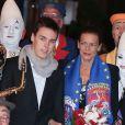 Louis Ducruet et sa mère la princesse Stéphanie de Monaco lors du Festival international du Cirque de Monte-Carlo le 18 janvier 2013