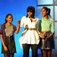 La première dame Michelle Obama fière avec ses filles Sasha et Malia lors du Kids Inaugural Concert à Washington le 19 janvier 2013