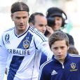 David Beckham et Brooklyn à Los Angeles, le 18 mars 2012.