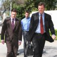 Lane Garrison arrive avec son avocat à la cour de justice de Los Angeles, le 8 mars 2007.
