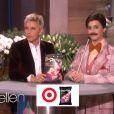 Katy Perry, grimée en présentateur de jeux télé, le 25 janvier 2013 chez Ellen DeGeneres, présente Popchips.