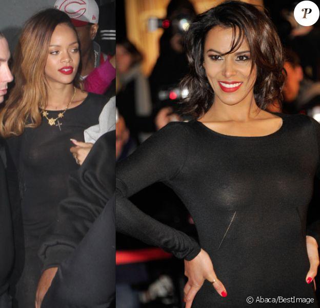 Rihanna à Los Angeles le 24 janvier 2013, contre Shy'm à Cannes le 26 : qui monter le mieux son corps en transparence dans une robe noire ?