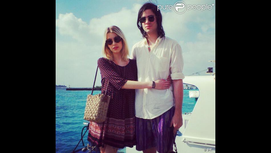 Peaches Geldof et son mari Thomas Cohen, durant leur lune de miel à l'île Maurice, le 23 janvier 2013.