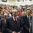 """Le prince Albert II de Monaco prenait part mercredi 30 janvier 2013 à la conférence """" Océans, climat, alimentation : les voies de la transition vers un monde durable """" organisée à l'Université Catholique de Louvain"""