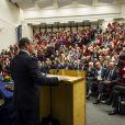"""Le prince Albert II de Monaco, ici en pleine intervention, prenait part mercredi 30 janvier 2013 à la conférence """" Océans, climat, alimentation : les voies de la transition vers un monde durable """" organisée à l'Université Catholique de Louvain"""